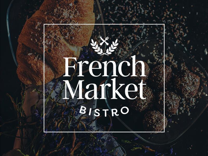 French Market Bistro culinary brand typography branding food french restaurant logo restaurant logo