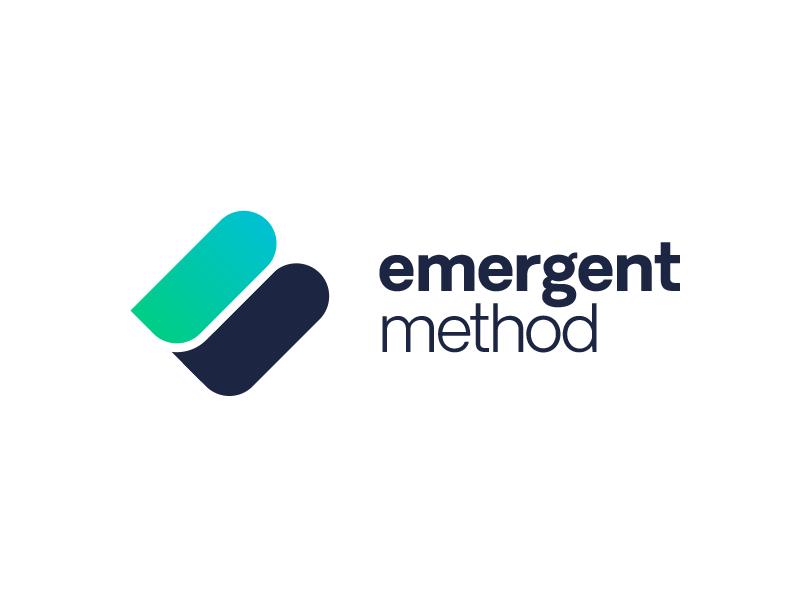 Emergent Method emblem branding typography clean corporate monogram abstract logo