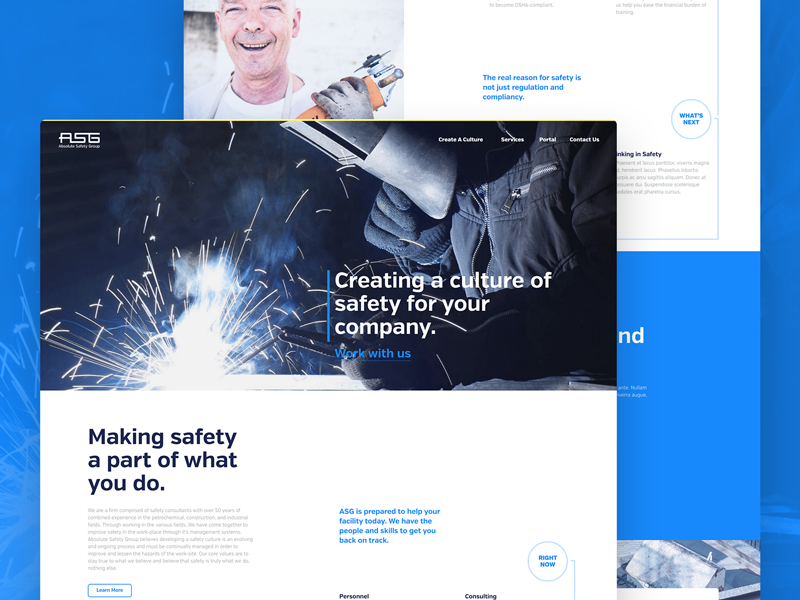 Absolute Safety industry safety industrial marketing web typography blue ux ui web design website