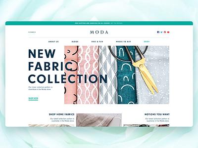 Moda web design branding sewing fabric clothing home ui website web fashion