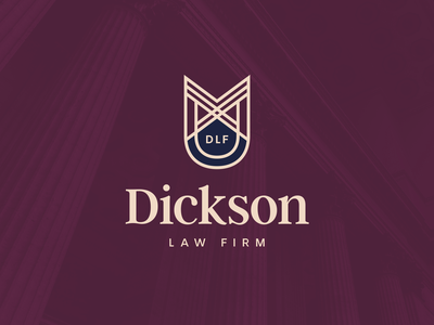 Dickson Law Firm solicitor baseball monogram shield logo branding attorney law firm law legal