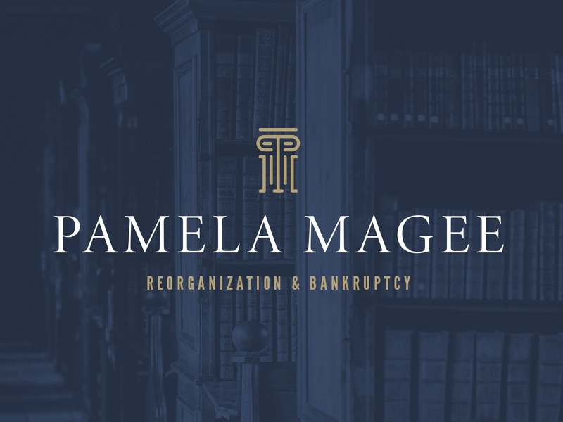 Pamela Magee, Attorney classic traditional gold navy brand branding logo lawyer logo law office law firm lawyer law attorney
