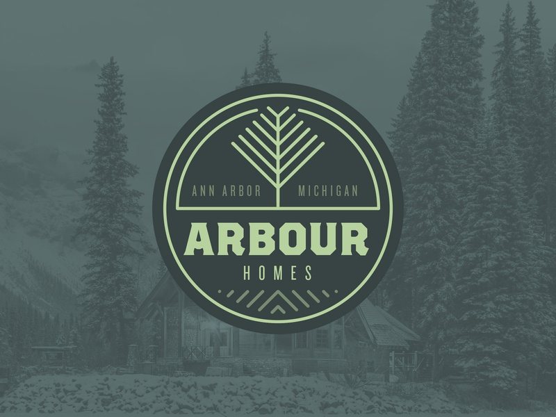 Arbour Homes brand rustic rugged green typography monogram home building home builder construction outdoors branding logo