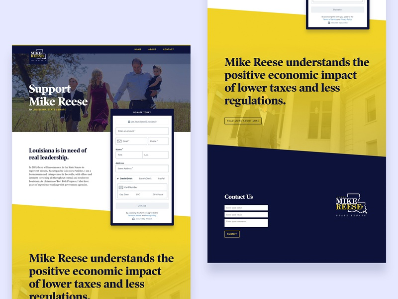 Reese Landing Page web microsite blue yellow brand politic political campaign politician political politics fundraiser donation landing page website