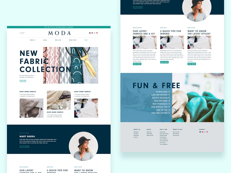 Moda clean sleek modern green blue fashion interior design fabric design ux ui online web web design fabric website