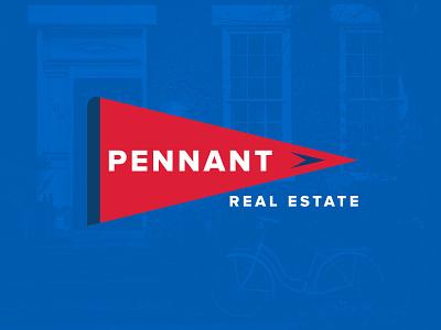Pennant penna sports red blue sales realtor branding logo real estate pennant