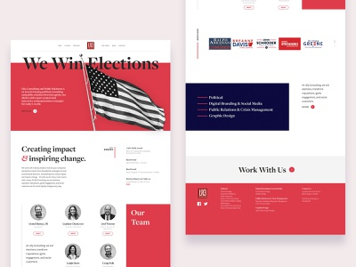 LR3 Consulting red design louisiana public relations pr government politics political campaign political consulting consulting political serif typoography branding website concept ux ui concept mockup website