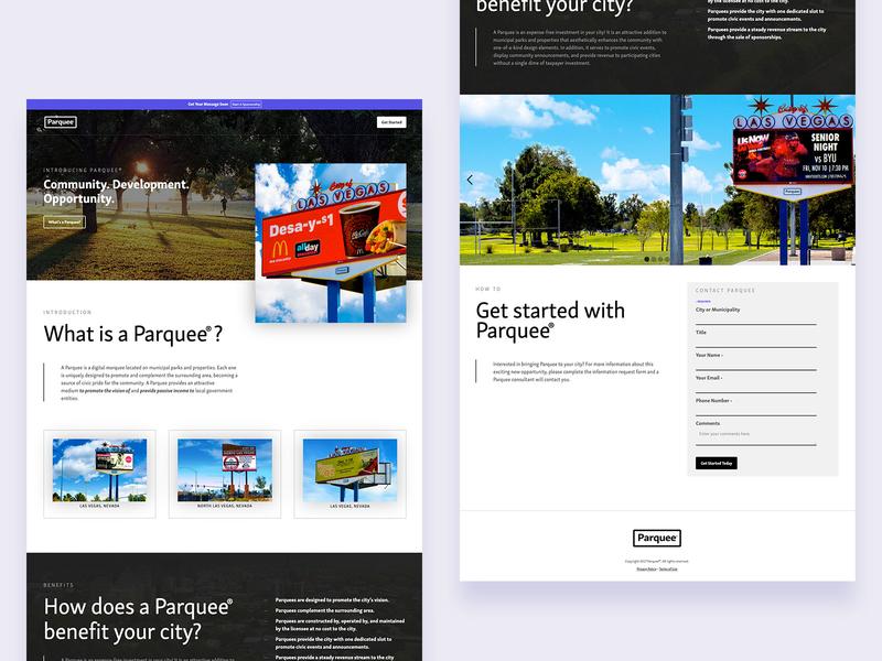 Parquee billboards web design ux ui design website brand typography branding logo