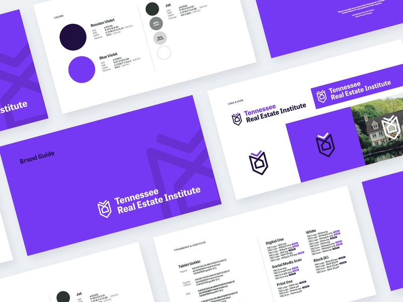 Tennessee Real Estate Institute Brand Guide education realtor guidelines brand guideline print design fonts typo modern purple guide logo branding brand guide brand real estate