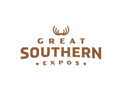 Great Southern Expos fishing hunters hunter green green expo conference badge southern outdoors logo design brand design brand branding logo