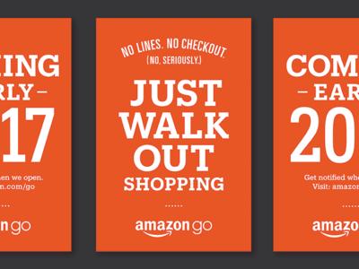 Amazon Go Just Walk Out Shopping amazon amazon go lockup typography posters