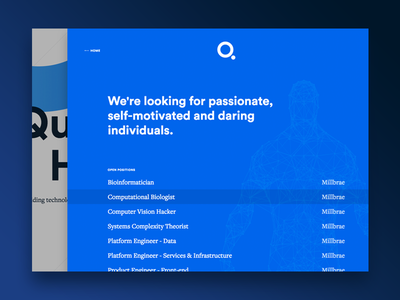 Q - Careers Drawer interaction ui web careers jobs blue landing page