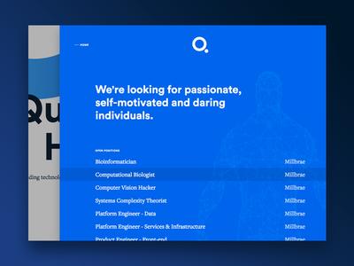Q - Careers Drawer interaction ui web careers jobs blue landing page