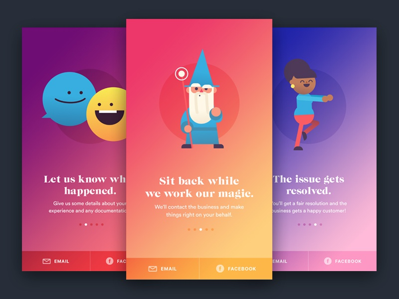 Service Onboarding gradient character welcome intro ui app illustration onboarding