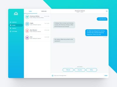 Service - Web App gradient web app interface message ui messaging bot chat