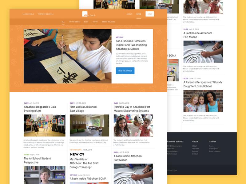 AltSchool News redesign website responsive interface ui education news blog branding web design web