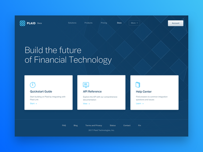 Plaid API Docs web design layout hero design finance doc api fintech plaid