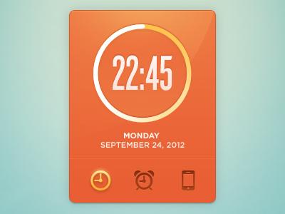 Clock Widget 2 clock widget time ui interface orange