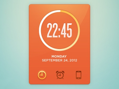 Clock Widget 2 clock widget time ui interface orange