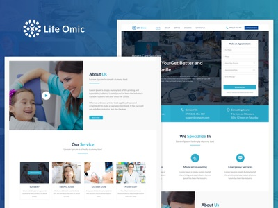 Life Omic clinic doctor service ui flat design website appointment hospital health care