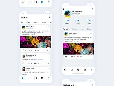 Social Feeds feeds category post tag profile likes card ui ux minimal flat