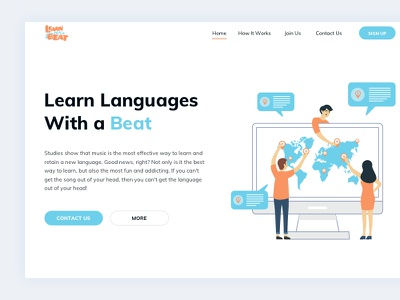 Learn with a Beat - Landing Screen landing page illustration flat minimal ux ui addict fun studies beat languages learn