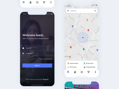 SignIn/Home - POS(Point Of Sale) - Withdraw Cash client customer withdraw cash pos outlets merchants ui ux minimal bank app location maps signin