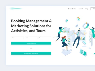 Product - Landing Page typography branding details design website data ux ui client service customer illustration minimal landing page tour activities solutions marketing management booking