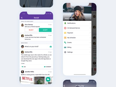 Quickdeal App purple iphone x mobile app minimal flat ui ux service design client data details customer logo typography home left menu card floating button ios