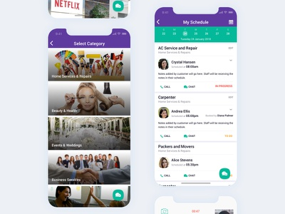 Quickdeal App calendar appointment category schedule ios floating button card home customer details data client service ux ui flat minimal mobile app iphone x purple
