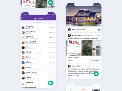 Social Feeds - Group Chat flat minimal list ux ui iphonex purple data client service detail customer social post feeds status chat groups table list view