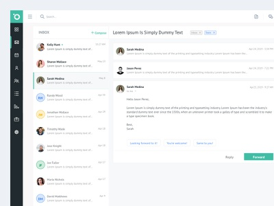 Inbox time line flat data ux ui table details service minimal team card customer reply forward client list compose messages email inbox