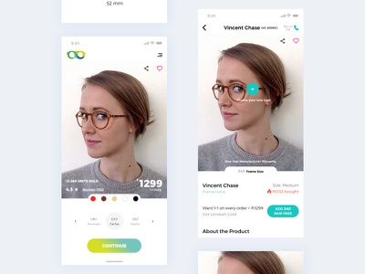 Spectacle App data branding card design flat client details glassware eyeglasses product home screen support service customer ux ui minimal frame glass spectacles