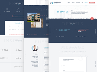 Ashburn Lung Subpages  website ux ui pulmonology pulmonologist interface branding