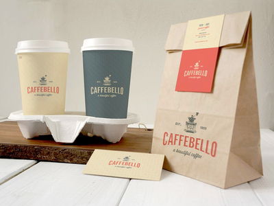 Caffebello - Packaging Design packaging coffee cups cups brand coffee logo shop vintage coffee brand coffee branding coffee logo coffee shop