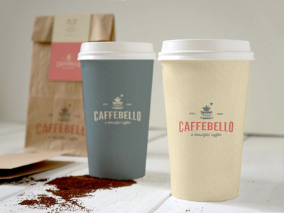 Caffebello - Coffee Cups Design coffee shop coffee logo coffee branding coffee brand vintage shop logo coffee brand cups coffee cups packaging