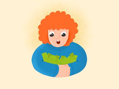 Big Money for Little Boy character design cartoon procreate boy money character design illustration