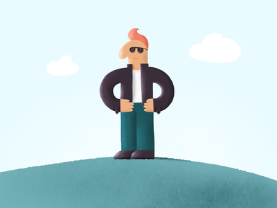 Brutal noise texture man colorful art procreate character design character illustration cartoon design