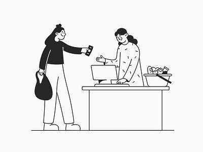 Payment in Cash Illustration line art monochrome graphic affinity designer pay cash freebie woman minimal boy vector character design character art illustration cartoon design