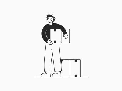 Delivery in Boxes cartoon ui app delivery line art monochrome affinity designer freebie boy minimal character design character vector illustration
