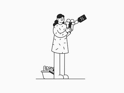 Discount ui discount woman line art monochrome affinity designer freebie minimal character design character art vector illustration cartoon design
