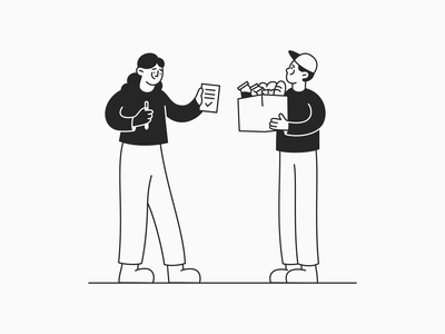 Contract Delivery woman man delivery monochrome line art ui affinity designer freebie minimal character design art character vector illustration cartoon design
