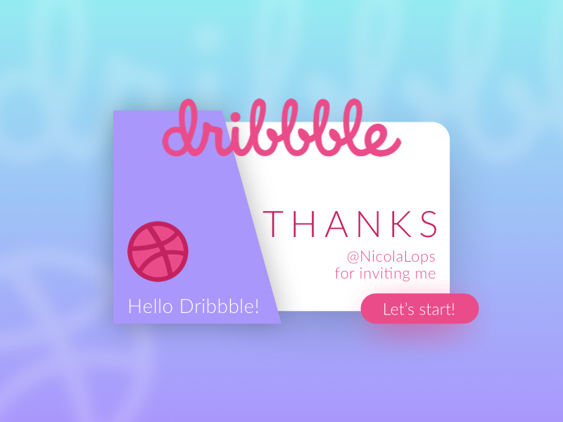 First shot! hello card thanks shot first dribbble