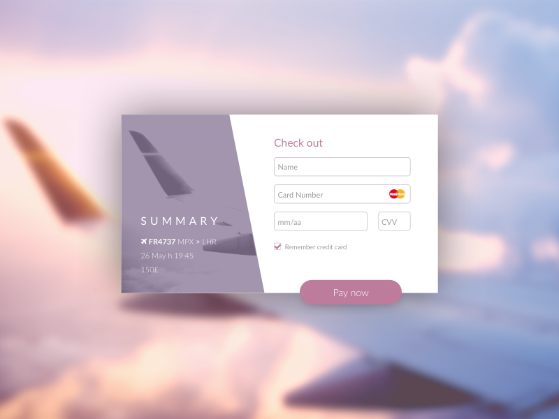 Daily UI #003 challenge ui daily cloud sky plane soft card credit pay flow checkout
