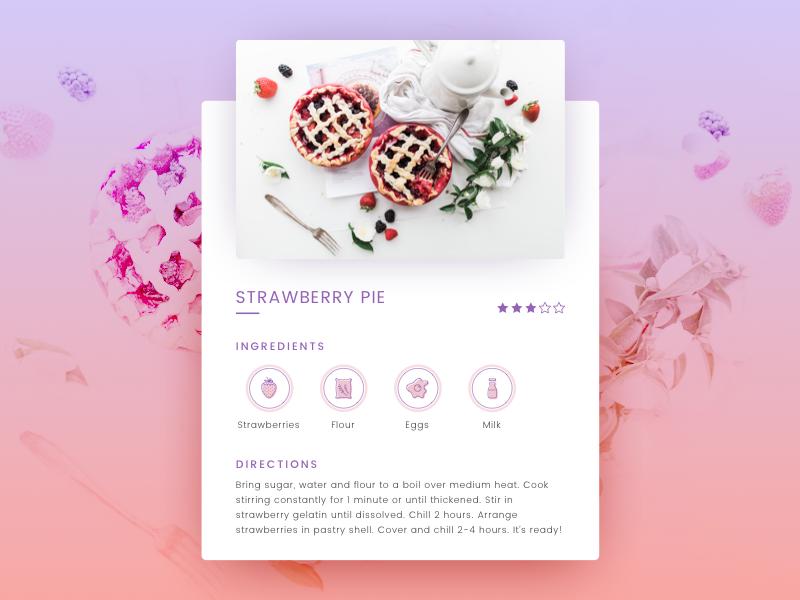 Daily UI #040 colors widget challenge 040 gradient strawberry recipe ui daily