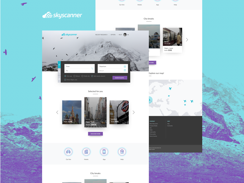 Skyscanner Redesign Concept concept redesign trip fight airline skyscanner