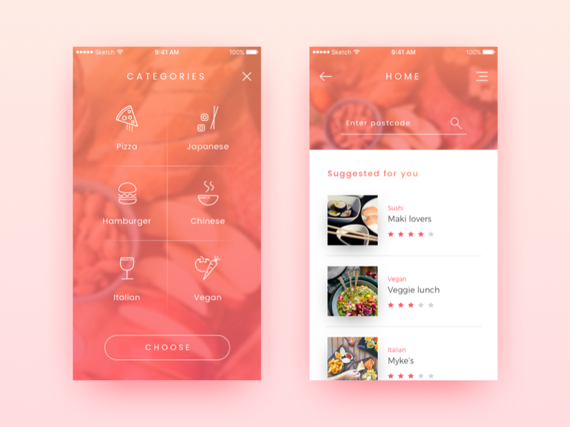 Food Delivery App - Concept mobile home concept icons gradient colors bright delivery food app