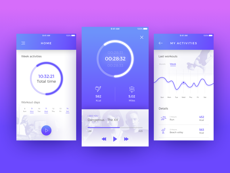 Daily UI #041 app colors bright gradient tracker fitness icon shapes color challenge ui daily