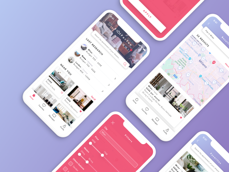 FlatForYou - App gradient filters search colors ui map app iphonex