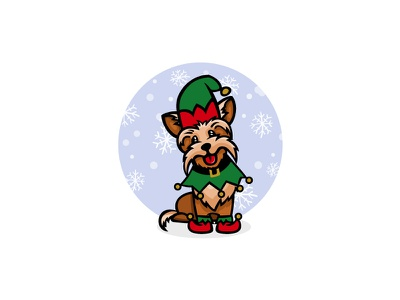 Yorkshire terrier little assistant santa yorkshire terrier 2018 year new illustration dog christmas cartoon snowflakes of background